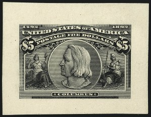 Sale Number 1113, Lot Number 2365, 1893 Columbian Issue: American Bank Note Co.1c-$5.00 Columbian, Large Die Proofs on Card (230P1-245P1), 1c-$5.00 Columbian, Large Die Proofs on Card (230P1-245P1)