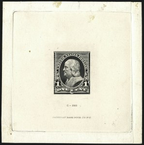 Sale Number 1113, Lot Number 2368, 1894-98 Issues: Bureau of Engraving & Printing1c Black, Progressive Large Die Proof on India (247-E1), 1c Black, Progressive Large Die Proof on India (247-E1)