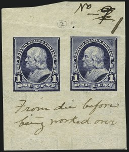 Sale Number 1113, Lot Number 2369, 1894-98 Issues: Bureau of Engraving & Printing1c Blue, Progressive Die Proof on Semi-glazed White Wove Paper (247-E2a), 1c Blue, Progressive Die Proof on Semi-glazed White Wove Paper (247-E2a)