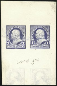 Sale Number 1113, Lot Number 2370, 1894-98 Issues: Bureau of Engraving & Printing1c Ultramarine, Progressive Die Proof on White Card (247-E2b), 1c Ultramarine, Progressive Die Proof on White Card (247-E2b)