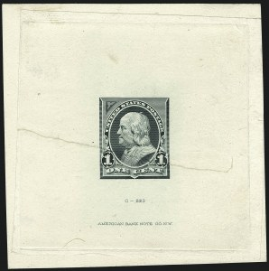 Sale Number 1113, Lot Number 2374, 1894-98 Issues: Bureau of Engraving & Printing1c Dusky Blue Green, Progressive Large Die Proof on India (247-E7), 1c Dusky Blue Green, Progressive Large Die Proof on India (247-E7)