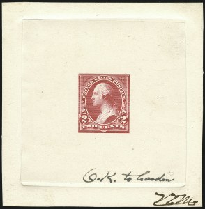 Sale Number 1113, Lot Number 2376, 1894-98 Issues: Bureau of Engraving & Printing2c Bright Red, Ty. I, Progressive Large Die Proof on India (250-E4), 2c Bright Red, Ty. I, Progressive Large Die Proof on India (250-E4)