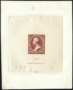 Sale Number 1113, Lot Number 2377, 1894-98 Issues: Bureau of Engraving & Printing2c Medium Deep Red, Ty. I, Progressive Large Die Proof on India (250-E7), 2c Medium Deep Red, Ty. I, Progressive Large Die Proof on India (250-E7)