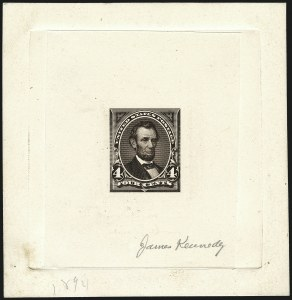 Sale Number 1113, Lot Number 2379, 1894-98 Issues: Bureau of Engraving & Printing4c Dark Brown, Progressive Large Die Proof on India (254-E3), 4c Dark Brown, Progressive Large Die Proof on India (254-E3)
