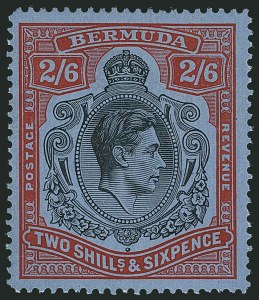 Sale Number 1114, Lot Number 100, Bermuda (by Gibbons) thru British HondurasBERMUDA, 1938, 2sh6p Black & Red on Gray Blue, Line Perf 14-1/4 (SG 117a), BERMUDA, 1938, 2sh6p Black & Red on Gray Blue, Line Perf 14-1/4 (SG 117a)