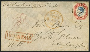 Sale Number 1114, Lot Number 1001, IndiaINDIA, 1854, 4a Red & Blue (6; SG 23), INDIA, 1854, 4a Red & Blue (6; SG 23)