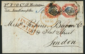 Sale Number 1114, Lot Number 1002, IndiaINDIA, 1854, 4a Red & Blue (6; SG 23), INDIA, 1854, 4a Red & Blue (6; SG 23)