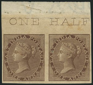 Sale Number 1114, Lot Number 1008, IndiaINDIA, 1855-64, 1a Brown, Imperforate (12a; SG 39b), INDIA, 1855-64, 1a Brown, Imperforate (12a; SG 39b)