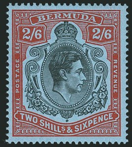 Sale Number 1114, Lot Number 101, Bermuda (by Gibbons) thru British HondurasBERMUDA, 1938, 2sh6p Black & Red on Pale Blue, Gash on Chin (SG 117bf), BERMUDA, 1938, 2sh6p Black & Red on Pale Blue, Gash on Chin (SG 117bf)