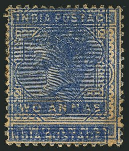 Sale Number 1114, Lot Number 1010, IndiaINDIA, 1882-87, 2a Ultramarine, Double Impression (40a; SG 92a), INDIA, 1882-87, 2a Ultramarine, Double Impression (40a; SG 92a)