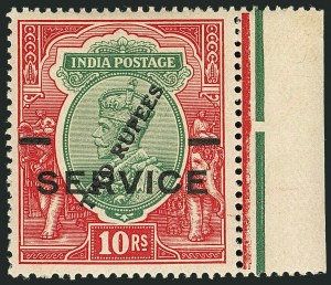 Sale Number 1114, Lot Number 1012, IndiaINDIA, 1925, 2r on 10r Carmine Rose & Green, Surcharge on King George V (O69b; SG O104), INDIA, 1925, 2r on 10r Carmine Rose & Green, Surcharge on King George V (O69b; SG O104)