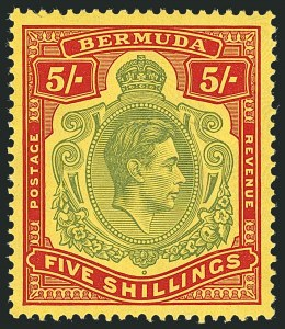 Sale Number 1114, Lot Number 102, Bermuda (by Gibbons) thru British HondurasBERMUDA, 1939, 5sh Pale Green & Red on Yellow (SG 118a), BERMUDA, 1939, 5sh Pale Green & Red on Yellow (SG 118a)