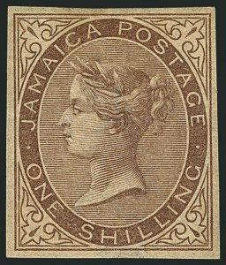 Sale Number 1114, Lot Number 1021, JamaicaJAMAICA, 1860, 1p Blue, 2p Rose, 4p Brown Orange, 1sh Brown, Imperforate Imprimaturs (1, 2, 4, 6 vars.; SG 1, 2, 4, 6 vars.), JAMAICA, 1860, 1p Blue, 2p Rose, 4p Brown Orange, 1sh Brown, Imperforate Imprimaturs (1, 2, 4, 6 vars.; SG 1, 2, 4, 6 vars.)