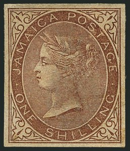 Sale Number 1114, Lot Number 1023, JamaicaJAMAICA, 1860, 1sh Brown, Imperforate Imprimatur (6 var; SG 6 var), JAMAICA, 1860, 1sh Brown, Imperforate Imprimatur (6 var; SG 6 var)