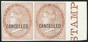 "Sale Number 1114, Lot Number 1026, JamaicaJAMAICA, 1870-72, -1/2p-1sh Queen Victoria, Imperforate, with ""Cancelled"" Overprint (7S-13S; SG 7s-13s), JAMAICA, 1870-72, -1/2p-1sh Queen Victoria, Imperforate, with ""Cancelled"" Overprint (7S-13S; SG 7s-13s)"