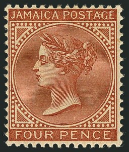 Sale Number 1114, Lot Number 1027, JamaicaJAMAICA, 1883, 4p Orange Brown (22a; SG 22), JAMAICA, 1883, 4p Orange Brown (22a; SG 22)