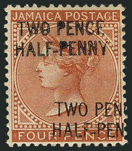 Sale Number 1114, Lot Number 1028, JamaicaJAMAICA, 1890, 2-1/2p on 4p Red Brown, Double Surcharge (27b; SG 30b), JAMAICA, 1890, 2-1/2p on 4p Red Brown, Double Surcharge (27b; SG 30b)