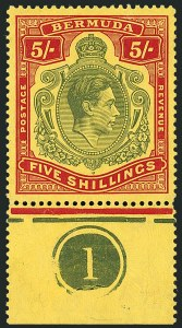 Sale Number 1114, Lot Number 103, Bermuda (by Gibbons) thru British HondurasBERMUDA, 1942, 5sh Dull Yellow Green & Red on Yellow, Broken Top Right Scroll (SG 118bd), BERMUDA, 1942, 5sh Dull Yellow Green & Red on Yellow, Broken Top Right Scroll (SG 118bd)