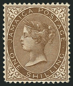 "Sale Number 1114, Lot Number 1030, JamaicaJAMAICA, 1897, 1sh Brown, ""$"" for ""S"" in Shilling (28 var; SG 24a), JAMAICA, 1897, 1sh Brown, ""$"" for ""S"" in Shilling (28 var; SG 24a)"