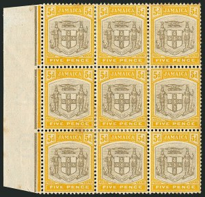 "Sale Number 1114, Lot Number 1031, JamaicaJAMAICA, 1904, 5p Yellow & Black, ""SERv ET"" Variety (36a; SG 36a), JAMAICA, 1904, 5p Yellow & Black, ""SERv ET"" Variety (36a; SG 36a)"