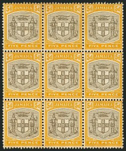 "Sale Number 1114, Lot Number 1032, JamaicaJAMAICA, 1907, 5p Yellow & Black, ""SERv ET"" Variety (41a; SG 43a), JAMAICA, 1907, 5p Yellow & Black, ""SERv ET"" Variety (41a; SG 43a)"