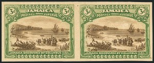 Sale Number 1114, Lot Number 1037, JamaicaJAMAICA, 1921, 3p Sepia & Yellow Green Trial Color Proof on Thick Paper (80TC; SG 83TC), JAMAICA, 1921, 3p Sepia & Yellow Green Trial Color Proof on Thick Paper (80TC; SG 83TC)