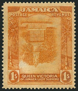 Sale Number 1114, Lot Number 1038, JamaicaJAMAICA, 1920, 1sh Bright Orange & Orange, Frame Inverted (83a; SG 85a), JAMAICA, 1920, 1sh Bright Orange & Orange, Frame Inverted (83a; SG 85a)