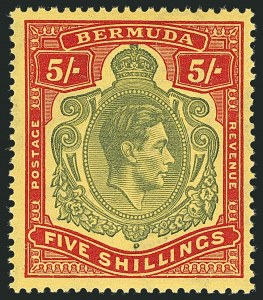 Sale Number 1114, Lot Number 104, Bermuda (by Gibbons) thru British HondurasBERMUDA, 1942, 5sh Bronze Green & Carmine Red on Pale Yellow (SG 118c), BERMUDA, 1942, 5sh Bronze Green & Carmine Red on Pale Yellow (SG 118c)
