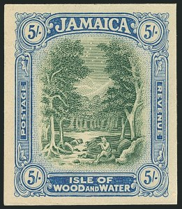Sale Number 1114, Lot Number 1040, JamaicaJAMAICA, 1921, 5sh Green & Ultramarine Trial Color Proof on Thick Paper (86TC; SG 88TC), JAMAICA, 1921, 5sh Green & Ultramarine Trial Color Proof on Thick Paper (86TC; SG 88TC)