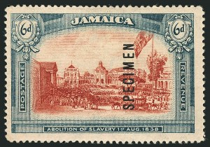 Sale Number 1114, Lot Number 1043, JamaicaJAMAICA, 1919-21, 6p Abolition of Slavery, Wmk. Multiple CA, Specimen Ovpt. Reading Upward (SG 90s), JAMAICA, 1919-21, 6p Abolition of Slavery, Wmk. Multiple CA, Specimen Ovpt. Reading Upward (SG 90s)