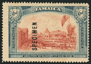 Sale Number 1114, Lot Number 1044, JamaicaJAMAICA, 1919-21, 6p Abolition of Slavery, Wmk. Multiple CA, Specimen Ovpt. Reading Upward (SG 90s), JAMAICA, 1919-21, 6p Abolition of Slavery, Wmk. Multiple CA, Specimen Ovpt. Reading Upward (SG 90s)