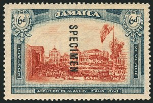Sale Number 1114, Lot Number 1045, JamaicaJAMAICA, 1919-21, 6p Abolition of Slavery, Wmk. Script CA, Specimen Ovpt. Reading Downward (SG 91s), JAMAICA, 1919-21, 6p Abolition of Slavery, Wmk. Script CA, Specimen Ovpt. Reading Downward (SG 91s)