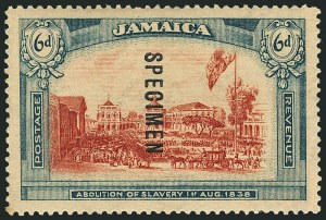 Sale Number 1114, Lot Number 1046, JamaicaJAMAICA, 1919-21, 6p Abolition of Slavery, Wmk. Script CA, Specimen Ovpt. Reading Downward (SG 91s), JAMAICA, 1919-21, 6p Abolition of Slavery, Wmk. Script CA, Specimen Ovpt. Reading Downward (SG 91s)