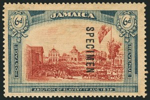 Sale Number 1114, Lot Number 1047, JamaicaJAMAICA, 1919-21, 6p Abolition of Slavery, Wmk. Script CA, Specimen Ovpt. Reading Downward (SG 91s), JAMAICA, 1919-21, 6p Abolition of Slavery, Wmk. Script CA, Specimen Ovpt. Reading Downward (SG 91s)