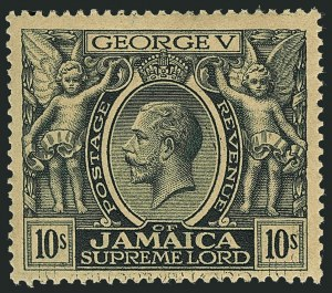 Sale Number 1114, Lot Number 1049, JamaicaJAMAICA, 1922, 10sh Dark Myrtle Green, Major Double Transfer (100 var; SG 103 var), JAMAICA, 1922, 10sh Dark Myrtle Green, Major Double Transfer (100 var; SG 103 var)