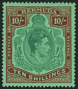 Sale Number 1114, Lot Number 105, Bermuda (by Gibbons) thru British HondurasBERMUDA, 1938, 10sh Green & Deep Lake on Bright Green (SG 119), BERMUDA, 1938, 10sh Green & Deep Lake on Bright Green (SG 119)