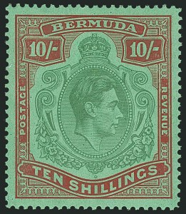 Sale Number 1114, Lot Number 106, Bermuda (by Gibbons) thru British HondurasBERMUDA, 1942, 10sh Yellow Green & Carmine on Green, Line Perf 14-1/4 (SG 119b), BERMUDA, 1942, 10sh Yellow Green & Carmine on Green, Line Perf 14-1/4 (SG 119b)