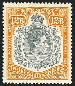 Sale Number 1114, Lot Number 107, Bermuda (by Gibbons) thru British HondurasBERMUDA, 1938, 12sh6p Deep Gray & Brownish Orange (SG 120), BERMUDA, 1938, 12sh6p Deep Gray & Brownish Orange (SG 120)