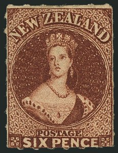 Sale Number 1114, Lot Number 1071, New Zealand thru St. LuciaNEW ZEALAND, 1862, 6p Red Brown, Rouletted 7 (14c; SG 55), NEW ZEALAND, 1862, 6p Red Brown, Rouletted 7 (14c; SG 55)