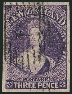 Sale Number 1114, Lot Number 1072, New Zealand thru St. LuciaNEW ZEALAND, 1864-71, 3p Mauve, Imperforate (33c; SG 118a), NEW ZEALAND, 1864-71, 3p Mauve, Imperforate (33c; SG 118a)