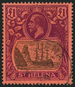 Sale Number 1114, Lot Number 1083, New Zealand thru St. LuciaST. HELENA, 1922-27, £1 Red Violet and Black on Red (99; SG 96), ST. HELENA, 1922-27, £1 Red Violet and Black on Red (99; SG 96)