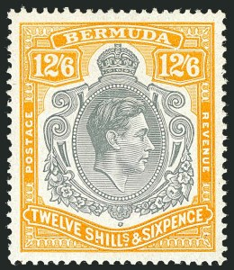 Sale Number 1114, Lot Number 109, Bermuda (by Gibbons) thru British HondurasBERMUDA, 1946, 12sh6p Gray & Yellow (SG 120d; Scott 127b), BERMUDA, 1946, 12sh6p Gray & Yellow (SG 120d; Scott 127b)