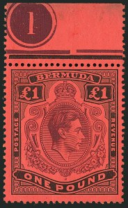 "Sale Number 1114, Lot Number 110, Bermuda (by Gibbons) thru British HondurasBERMUDA, 1938, £1 Purple & Black on Red, ""ER"" Joined (SG 121a), BERMUDA, 1938, £1 Purple & Black on Red, ""ER"" Joined (SG 121a)"