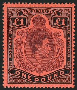 Sale Number 1114, Lot Number 111, Bermuda (by Gibbons) thru British HondurasBERMUDA, 1943, £1 Deep Reddish Purple & Black on Pale Red, Shading Omitted from Top Right Scroll (SG 121cb), BERMUDA, 1943, £1 Deep Reddish Purple & Black on Pale Red, Shading Omitted from Top Right Scroll (SG 121cb)