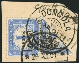Sale Number 1114, Lot Number 1114, SudanSUDAN, 1897, 1p Ultramarine, Postage Due, Bisect (J3 var; SG D3 car; Nile Post SPD3a), SUDAN, 1897, 1p Ultramarine, Postage Due, Bisect (J3 var; SG D3 car; Nile Post SPD3a)