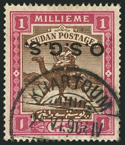 "Sale Number 1114, Lot Number 1116, SudanSUDAN, 1902, 1m Rose & Brown, Official, Inverted Overprint with Oval ""O"" and Round Stops (O1 var; SG O3e), SUDAN, 1902, 1m Rose & Brown, Official, Inverted Overprint with Oval ""O"" and Round Stops (O1 var; SG O3e)"