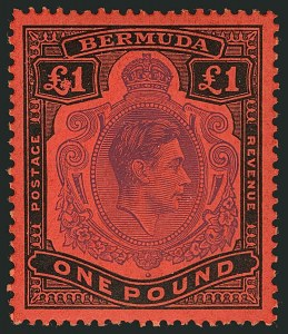 Sale Number 1114, Lot Number 112, Bermuda (by Gibbons) thru British HondurasBERMUDA, 1951, £1 Violet & Black on Scarlet, Perf 13, Damaged Left Value Tablet (SG 121da), BERMUDA, 1951, £1 Violet & Black on Scarlet, Perf 13, Damaged Left Value Tablet (SG 121da)