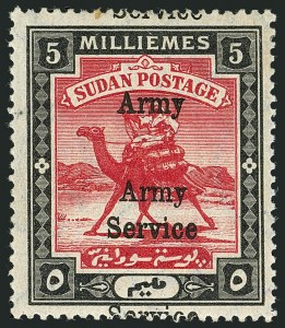 Sale Number 1114, Lot Number 1120, SudanSUDAN, 1906-11, 5m Black & Rose Red, Army Official, Triple Overprint (MO8 var; SG A9 var), SUDAN, 1906-11, 5m Black & Rose Red, Army Official, Triple Overprint (MO8 var; SG A9 var)