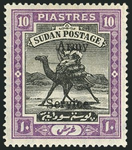 Sale Number 1114, Lot Number 1121, SudanSUDAN, 1911, 10p Deep Violet & Black, Army Official (MO12; SG A13), SUDAN, 1911, 10p Deep Violet & Black, Army Official (MO12; SG A13)