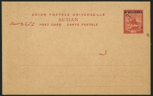 "Sale Number 1114, Lot Number 1122, SudanSUDAN, 1925, 8m on 10m Camel Post Postal Card, ""Colonias"" Specimen, SUDAN, 1925, 8m on 10m Camel Post Postal Card, ""Colonias"" Specimen"